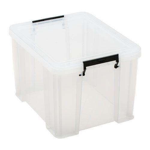 Manutan 36L Box Clear with Grey Handles