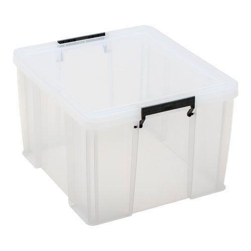 Manutan 48L Box Clear with Grey Handles