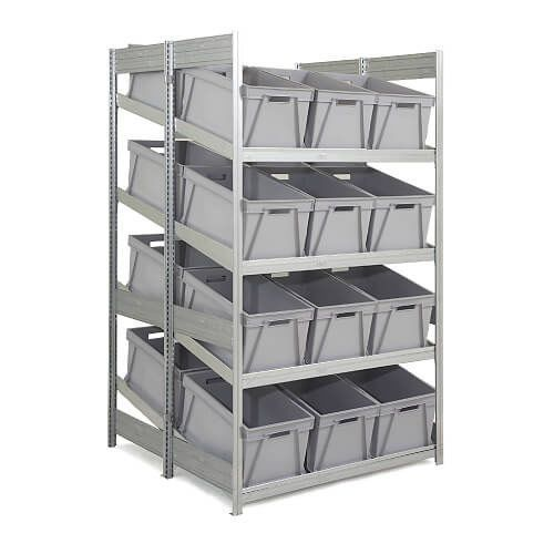 Double Depth Galvanized Sloping Shelves (2000h x 1250d) With 24 Plastic Boxes