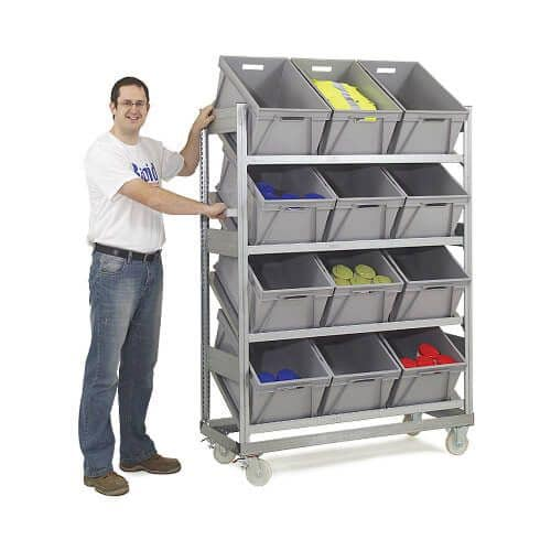 Mobile Galvanized Sloping Shelving (1815h x 1368w) With 12 Plastic Boxes