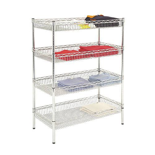 Chrome Wire Basket Shelving - 4 Shelves