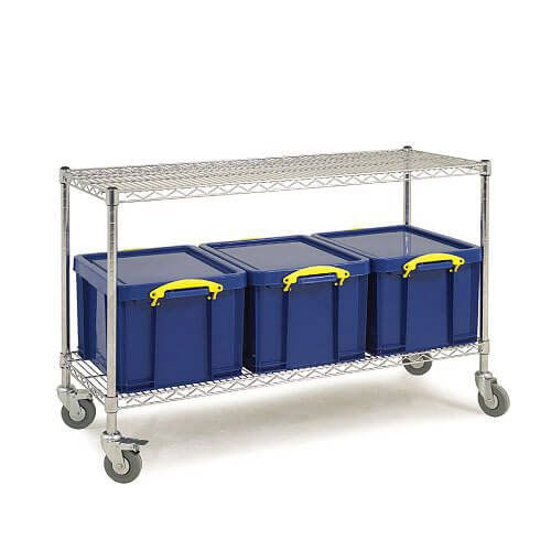 2 Shelf Trolley (800h x 1220w) + 3 x 35Ltr Really Useful Boxes