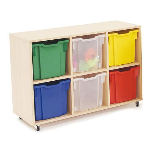 Mobile Melamine Storage Unit (754h x 1020w) Complete With 6 Jumbo Gratnells Trays