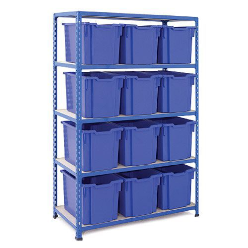 Rapid 2 (1600h x 1020w) Shelving Bay With 12 Jumbo Gratnells Trays
