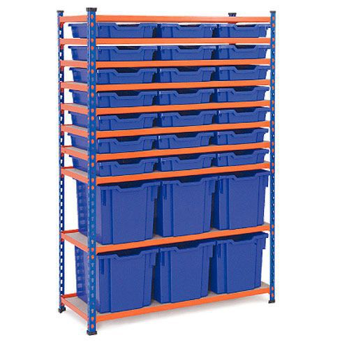Rapid 2 (1600h x 1020w) Shelving Bay With 21 Shallow & 6 Jumbo Gratnells Trays