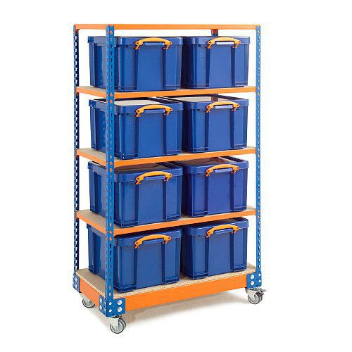 Mobile Really Useful Bay (1700h x 915w x 455d) In Blue & Orange