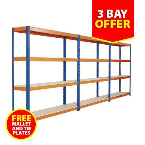 Rapid 1 Shelving - (1830w) Blue & Orange - 4 Shelf Special Offer