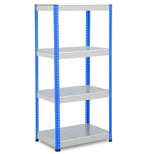 Rapid 1 Heavy Duty Shelving (1980h x 915w) Blue & Grey - 5 Galvanized Shelves