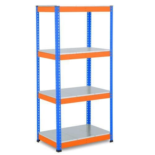 Rapid 1 Heavy Duty Shelving (1980h x 915w) Blue & Orange - 5 Galvanized Shelves