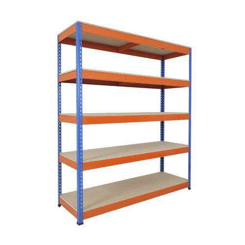 Rapid 1 Heavy Duty Shelving (1980h x 1220w) Blue & Orange - 5 Chipboard Shelves