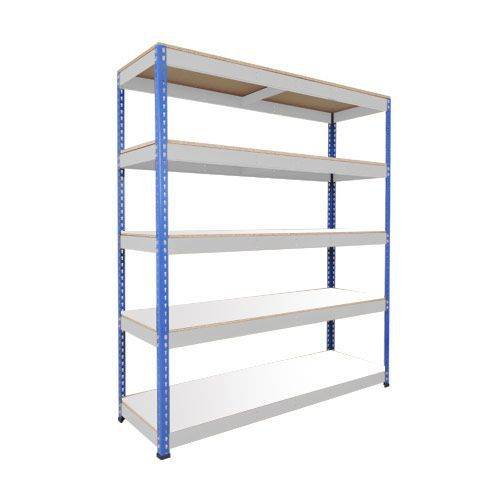 Rapid 1 Heavy Duty Shelving (1980h x 1525w) Blue & Grey - 5 Melamine Shelves
