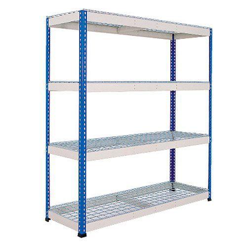 Rapid 1 Heavy Duty Shelving (1980h x 1830w) Blue & Grey - 4 Wire Mesh Shelves