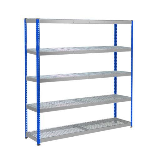 Rapid 1 Heavy Duty Shelving (1980h x 1830w) Blue & Grey - 5 Wire Mesh Shelves