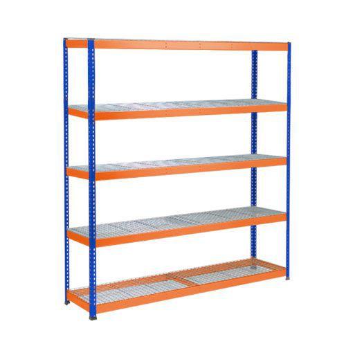 Rapid 1 Heavy Duty Shelving (1980h x 1830w) Blue & Orange - 5 Wire Mesh Shelves