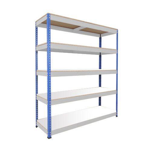 Rapid 1 Heavy Duty Shelving (1980h x 2134w) Blue & Grey - 5 Melamine Shelves