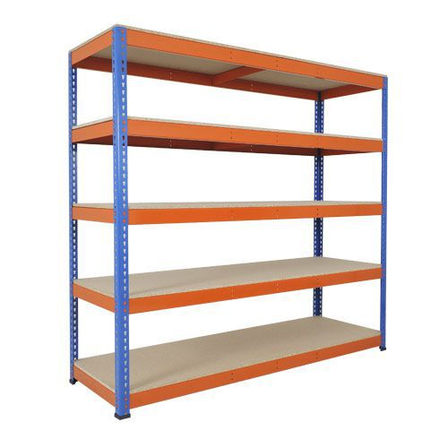 Rapid 1 Heavy Duty Shelving (1980h x 2134w) Blue & Orange - 5 Chipboard Shelves