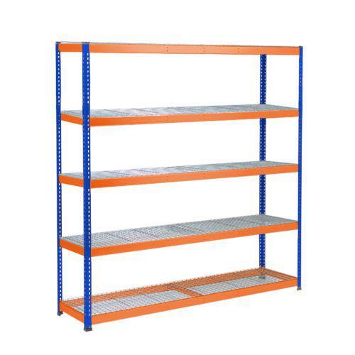 Rapid 1 Heavy Duty Shelving (1980h x 2440w) Blue & Orange - 5 Wire Mesh Shelves