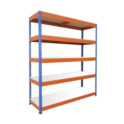 Rapid 1 Heavy Duty Shelving (2440h x 1525w) Blue & Orange - 5 Melamine Shelves