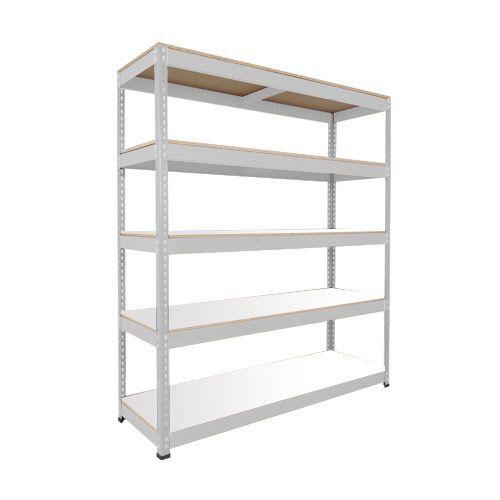 Rapid 1 Heavy Duty Shelving (2440h x 1525w) Grey - 5 Melamine Shelves
