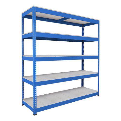 Rapid 1 Heavy Duty Shelving (2440h x 1525w) Blue - 5 Galvanized Shelves