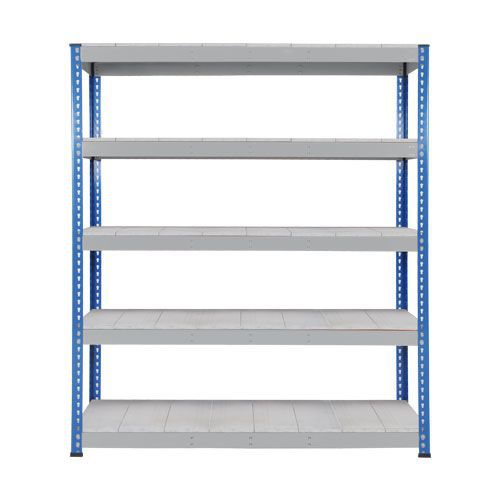 Rapid 1 Heavy Duty Shelving (2440h x 1525w) Blue & Grey - 5 Galvanized Shelves
