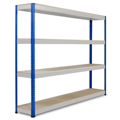 Rapid 1 Heavy Duty Shelving (2440h x 2134w) Blue & Grey - 4 Chipboard Shelves