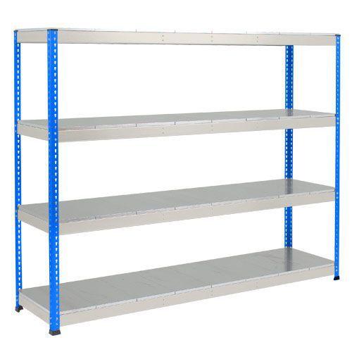 Rapid 1 Heavy Duty Shelving (2440h x 2134w) Blue & Grey - 4 Galvanized Shelves