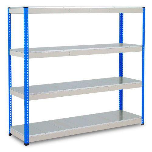 Rapid 1 Heavy Duty Shelving (2440h x 2134w) Blue & Grey - 5 Galvanized Shelves
