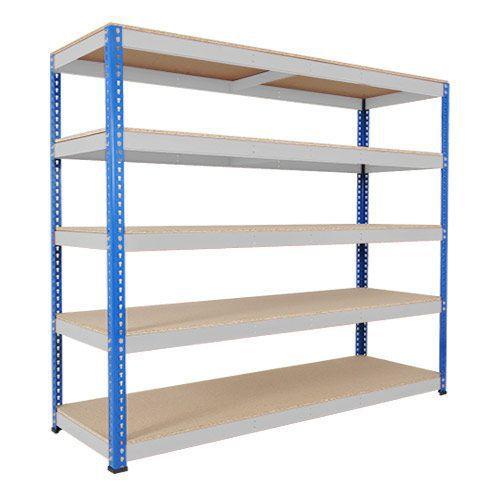 Rapid 1 Heavy Duty Shelving (2440h x 2134w) Blue & Grey - 5 Chipboard Shelves