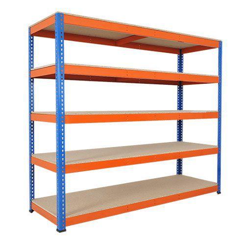 Rapid 1 Heavy Duty Shelving (2440h x 2440w) Blue & Orange - 5 Chipboard Shelves