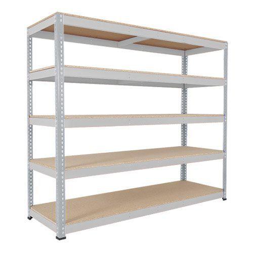 Rapid 1 Heavy Duty Shelving (2440h x 2134w) Grey - 5 Chipboard Shelves