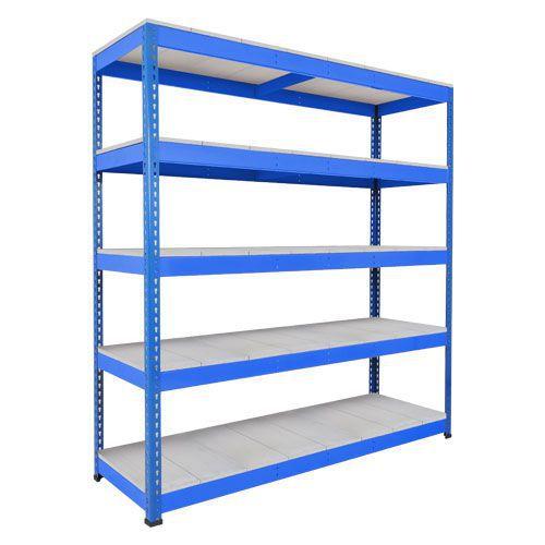 Rapid 1 Heavy Duty Shelving (2440h x 2134w) Blue - 5 Galvanized Shelves