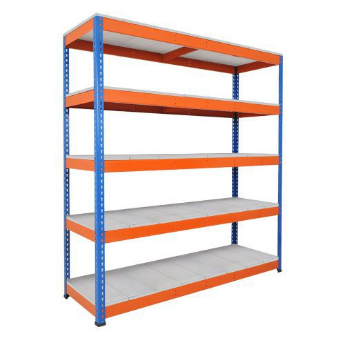 Rapid 1 Heavy Duty Shelving (2440h x 2134w) Blue & Orange - 5 Galvanized Shelves