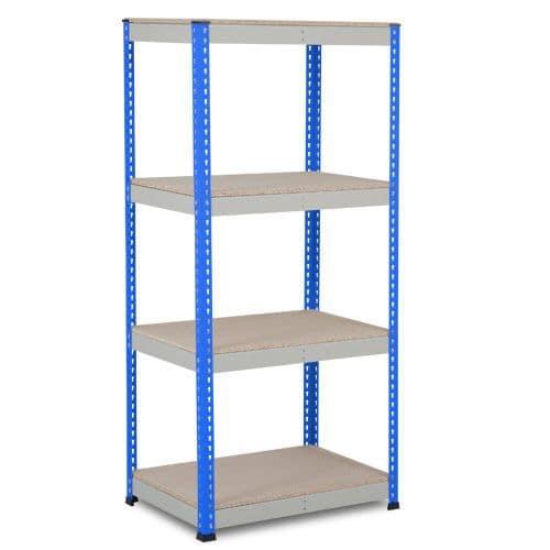 Rapid 1 Shelving (1980h x 915w) Blue & Grey - 4 Chipboard Shelves