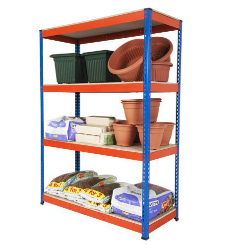 Rapid 1 Shelving (1980h x 1220w) Blue & Orange - 4 Chipboard Shelves