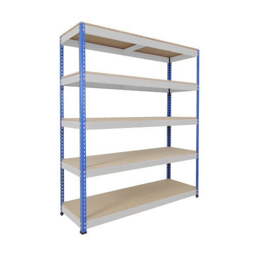 Rapid 1 Shelving (1980h x 1525w) Blue & Grey - 5 Chipboard Shelves