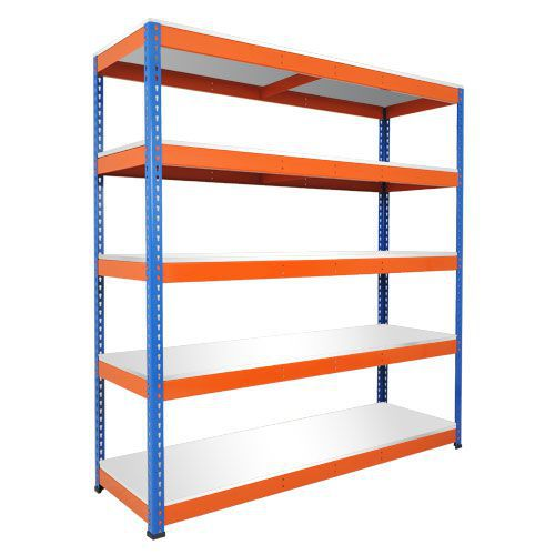 Rapid 1 Shelving (1980h x 1830w) Blue & Orange - 5 Chipboard Shelves