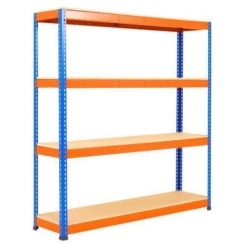 Rapid 1 Shelving (1980h x 1830w) Blue & Orange - 4 Chipboard Shelves