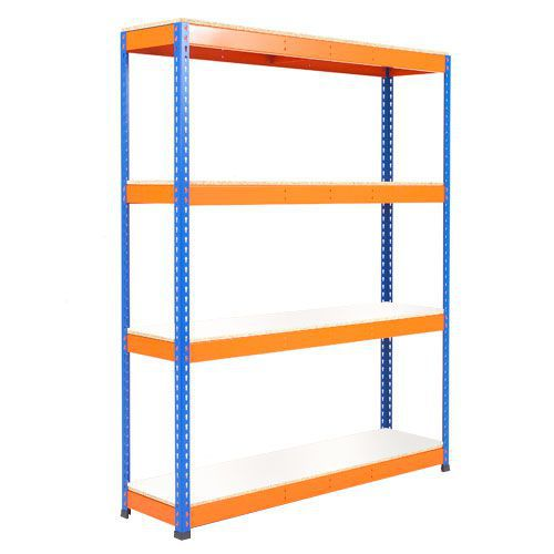 Rapid 1 Shelving (2440h x 1525w) Blue & Orange - 4 Melamine Shelves