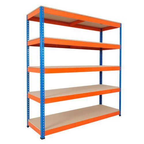 Rapid 1 Shelving (2440h x 1830w) Blue & Orange - 5 Chipboard Shelves