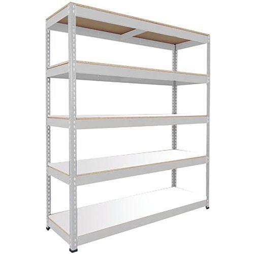Rapid 1 Shelving (2440h x 1830w) Grey - 5 Melamine Shelves