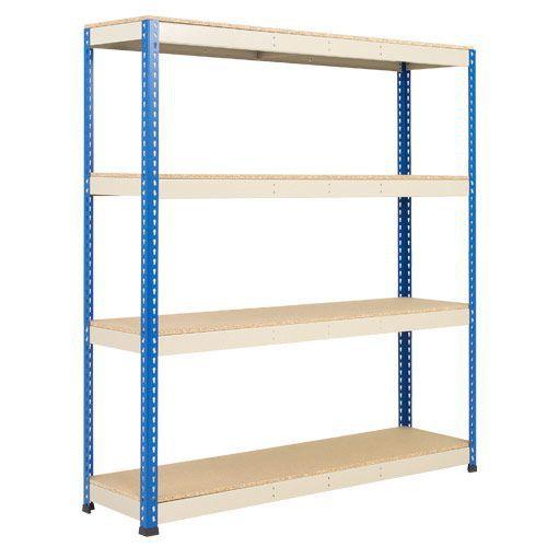 Rapid 1 Shelving (2440h x 1830w) Blue & Grey - 4 Chipboard Shelves