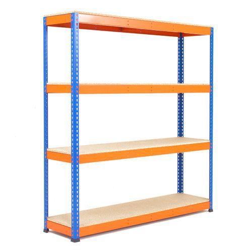 Rapid 1 Shelving (2440h x 1830w) Blue & Orange - 4 Chipboard Shelves