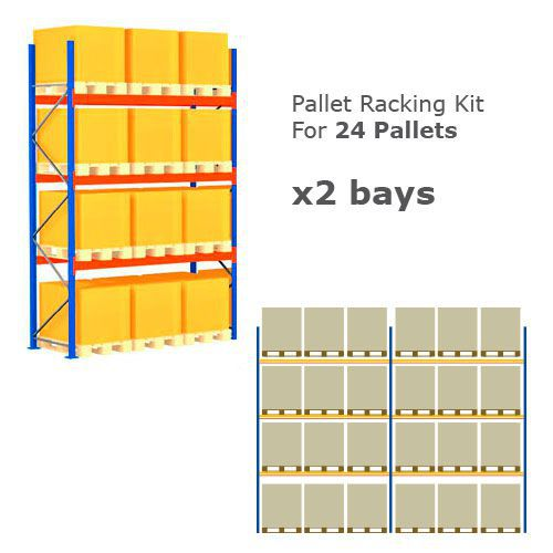 Pallet Racking Kit - Holds 24 Pallets - Sized (H) 1000 x (w)800 x (D) 1200