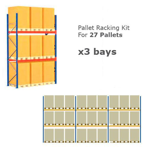 Pallet Racking Kit - Holds 27 Pallets - Sized H 1000 x W 800 x D 1200
