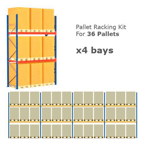 Pallet Racking Kit - Holds 36 Pallets - Sized (H) 1500 x (W) 800 x (D) 1200