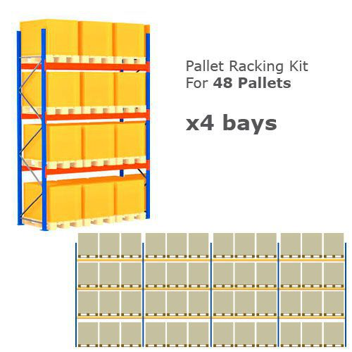Pallet Racking Kit - Holds 48 Pallets - Sized (H) 1000 x (W) 800 x (D) 1200
