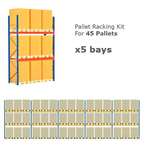 Pallet Racking Kit - Holds 45 Pallets - Sized (H) 1500 x (W) 800 x (D) 1200