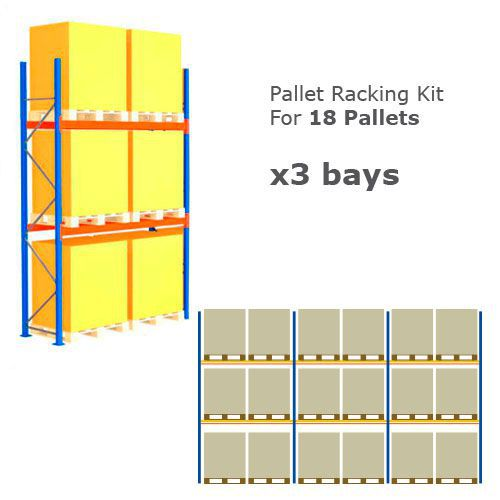 Pallet Racking Kit - Holds 18 Pallets - Sized (H) 1500 x (W) 1200 x (D) 1000