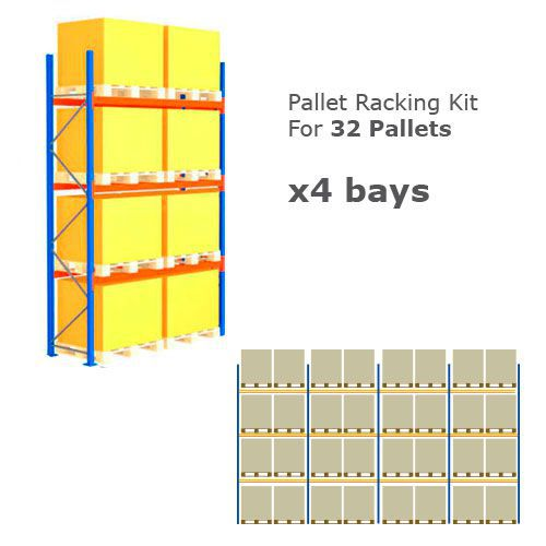 Pallet Racking Kit - Holds 32 Pallets - Sized (H) 1000 x (W) 1200 x (D) 1000